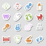 Iconos del bebé del color como Labes Imagen de archivo libre de regalías