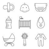 Iconos del bebé en la línea estilo fina Fotos de archivo libres de regalías