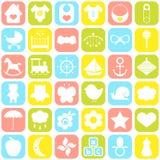 Iconos del bebé fijados Foto de archivo