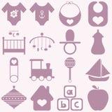 Iconos del bebé fijados Fotografía de archivo libre de regalías