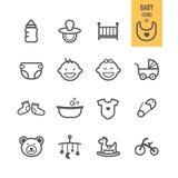 Iconos del bebé fijados stock de ilustración