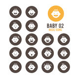 Iconos del bebé La reacción emocional del bebé Ilustración del vector Fotos de archivo libres de regalías