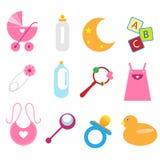 Iconos del bebé - muchacha stock de ilustración