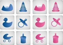 Iconos del bebé y de la muchacha fotos de archivo libres de regalías