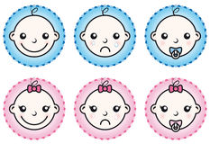 Iconos del bebé y de la muchacha fijados Imagen de archivo libre de regalías