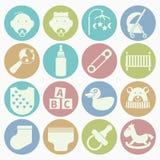 Iconos del bebé fijados Imágenes de archivo libres de regalías