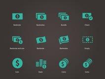 Iconos del billete de banco del dólar. Imágenes de archivo libres de regalías