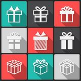 Iconos del blanco de la caja de regalo del vector Imagenes de archivo