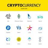 Iconos del blockchain de Cryptocurrency Sistema de moneda virtual Muestras comerciales del vector Imagen de archivo libre de regalías