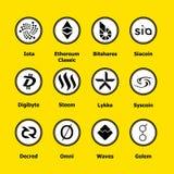 Iconos del blockchain de Cryptocurrency un fondo amarillo Moneda virtual determinada Muestras comerciales del vector: iota, obra  Imagen de archivo libre de regalías