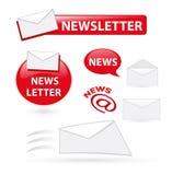 Iconos del boletín de noticias Fotos de archivo libres de regalías