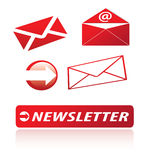 Iconos del boletín de noticias Imagen de archivo libre de regalías