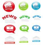 Iconos del boletín de noticias Foto de archivo
