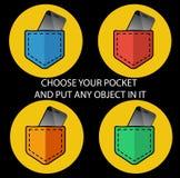 Iconos del bolsillo Fotos de archivo libres de regalías