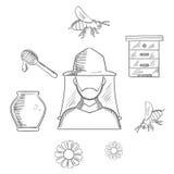Iconos del bosquejo de la apicultura y del colmenar Imagen de archivo