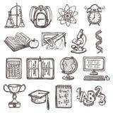 Iconos del bosquejo de la educación escolar Imágenes de archivo libres de regalías