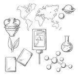 Iconos del bosquejo de la educación y de la ciencia Imagen de archivo libre de regalías