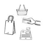 Iconos del bosquejo de las compras y del mercado fijados Fotografía de archivo