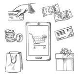 Iconos del bosquejo del comercio electrónico y de las compras libre illustration