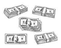 100 iconos del bosquejo del vector de los paquetes de los billetes de banco del dólar Foto de archivo libre de regalías