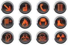 Iconos del botón de la seguridad Fotografía de archivo libre de regalías