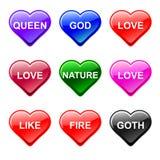 Iconos del botón del corazón del amor del vector, género Imagen de archivo