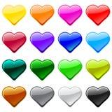 Iconos del botón del corazón del amor del vector, muestras Fotos de archivo