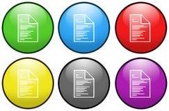 Iconos del botón del documento Fotografía de archivo