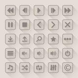 Iconos del botón del reproductor multimedia fijados con la sombra larga Fotos de archivo libres de regalías
