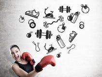 Iconos del boxeador y del deporte de la mujer Fotos de archivo libres de regalías