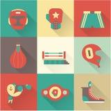 Iconos del boxeo Fotos de archivo libres de regalías