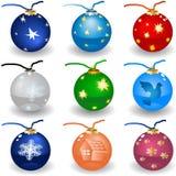 Iconos del bulbo de la Navidad fotos de archivo