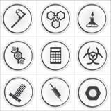 9 iconos del círculo de la ciencia, ejemplo del vector fotos de archivo