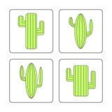 Iconos del cactus fijados Foto de archivo