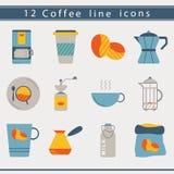 Iconos del café Fotografía de archivo