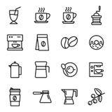 Iconos del café fijados stock de ilustración