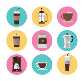 Iconos del café fijados Fotografía de archivo