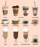 Iconos del café fijados Botones para el web y los apps Vector Foto de archivo libre de regalías