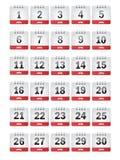 Iconos del calendario de abril Imagen de archivo libre de regalías