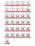 Iconos del calendario de agosto ilustración del vector