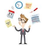 Iconos del calendario de la gestión de tiempo del hombre de negocios Fotos de archivo