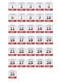Iconos del calendario de marzo Imagenes de archivo