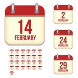 Iconos del calendario del vector de febrero Imagen de archivo libre de regalías