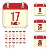 Iconos del calendario del vector de marzo Fotografía de archivo