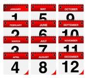 2015 iconos del calendario del vector fijados Foto de archivo libre de regalías