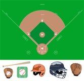 Iconos del campo de béisbol y de la materia Fotografía de archivo libre de regalías