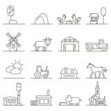 Iconos del campo en estilo linear stock de ilustración
