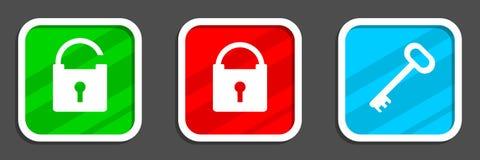 Iconos del candado y de la llave Foto de archivo libre de regalías