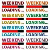 Iconos del cargamento del fin de semana fijados Imagenes de archivo