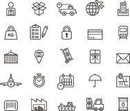 Iconos del cargo, de la entrega, del envío de la carga y del transporte Imagen de archivo